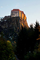 Riegersburg Castle glowing in the evening light