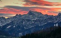 "Sunset over the Mountain ""Grosse Priel"" from Oberschlierbach"